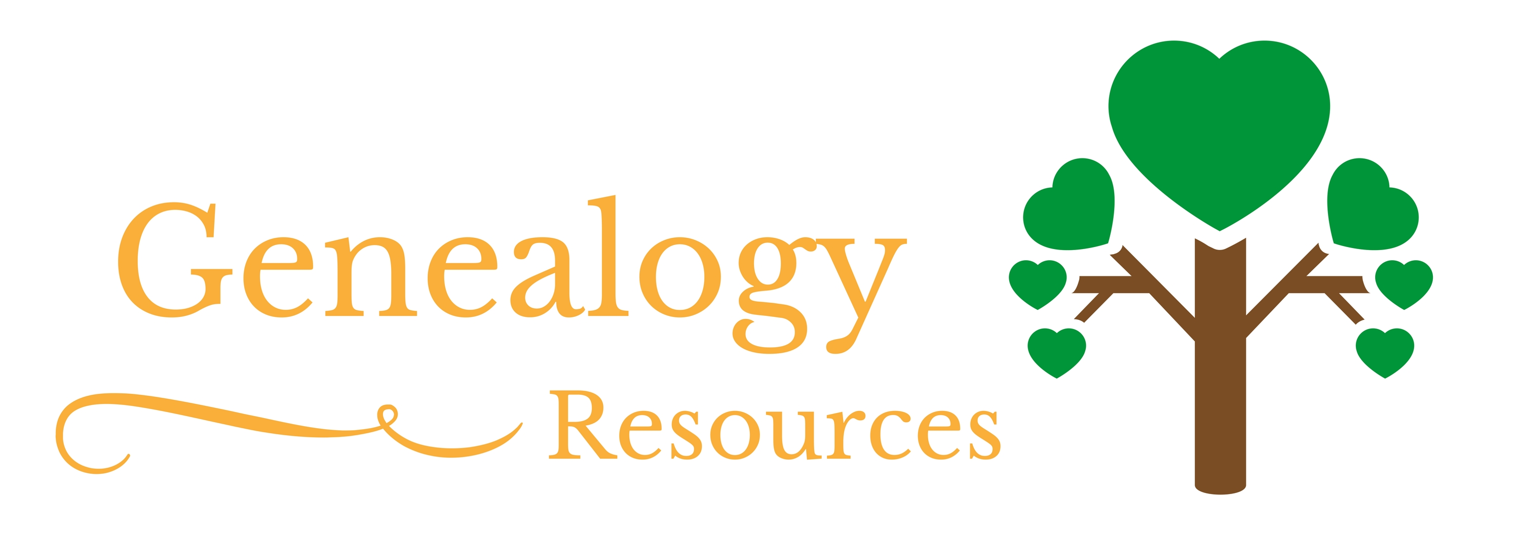 Page listing Genealogy Resources available in house and online through the library